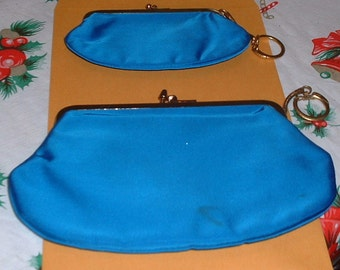 Set of two Vintage Blue Satin Evening Purse & Change Purse with keychains late 1950's or early 1960's Clutch Purse Prom Wedding