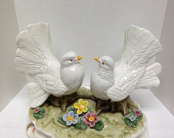 Capodimonte Bird Flowers Porcelain Figurine Italy