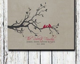 Wedding Anniversary Gift for Wife, Husband, Gift for Parents, Parents-inlaw, Family Tree Wall Art Print  8 x 10 Custom colors and fonts