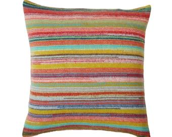 Locomotive Stripe Knitted Lambswool Cushion