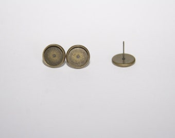 10 Pcs. earstud / earring with tray / 12mm, fits 10mm Cabochons / bronze tone OH112