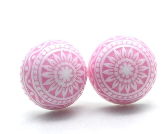 Pink mosaic-cabochon earrings