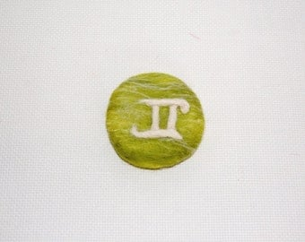 Gifts for Gemini, Gemini Zodiac, Needle felted brooch, Green White brooch, Green Gemini brooch, Personalised jewelry, Zodiac gifts