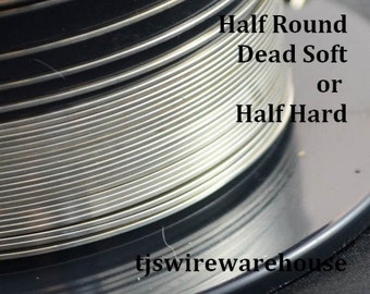 Sterling Silver Wire, 12g to 16g, HALF ROUND,  Dead Soft, Half Hard, Length Choice, 925, Wholesale