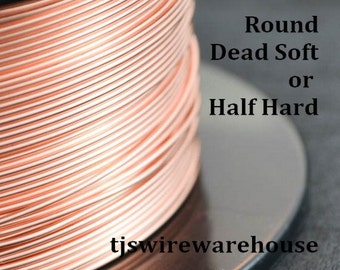 ROUND Raw Solid Copper Wire, You Pick the Gauge, Length, & Temper, Guarantee, Made In USA