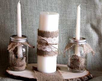 Mason Jar, Burlap, and Lace Unity Candle Complete Set