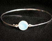 Seafoam Green Chalcedony Gemstone Bezel Set Bangle Bracelet Sterling Silver Hand Hammered - Stackable