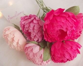 Paper flowers,wedding flowers,wedding peony 5 pcs,paper flower bouquet,pink peonies,paper flowers,bridal flower,peonies bouquet,