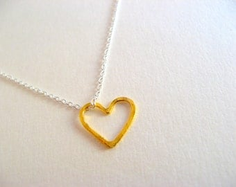 Little Dainty Sterling Silver Necklace with Gold Vermeil Heart - charm necklace - pendant necklace - heart necklace - valentine's day
