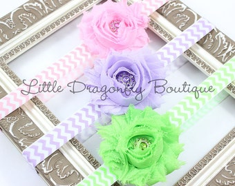 Set of three chevron headbands for baby, infant, toddler, child in pink, lavender, and lime