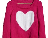 Knitting Pattern Jumper With Heart : Items similar to Heart Jumper, Chunky Knitting Pattern on Etsy