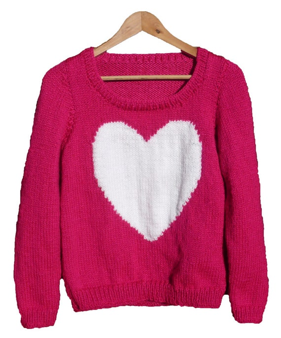 Chunky Knit Jumper Pattern : Heart jumper chunky knitting pattern. One size adult.