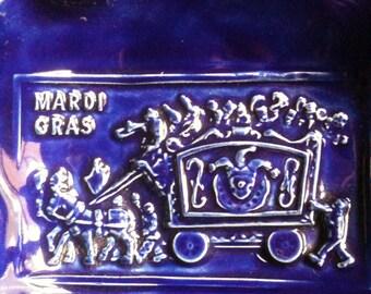 Mardi Gras royal blue hand and slab built Stoneware Pottery Bowl