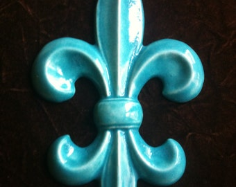 Fleur de Lis handmade glacier blue decorative Pottery Wall Hanging