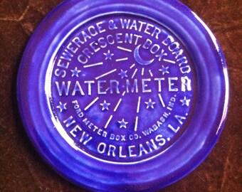 New Orleans Water Meter handmade royal blue Pottery Souvenir Plate