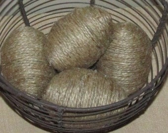 Rustic hand-wrapped jute eggs