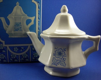 Vintage Avon Teapot Perfumed Candle Holder China Teapot Vintage New with Box