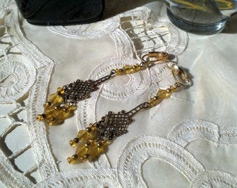 vintage chandelier earrings, clip on