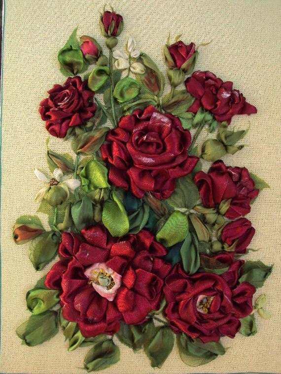 Red roses silk ribbon embroidery
