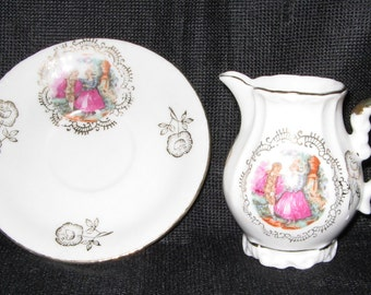 Royal Vienna Courting Couple Creamer and Saucer Arnart Imports (beehive logo)