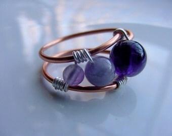 SALE!! Amethyst Copper  Wire Wrap Ring, Inner Seeing, Spiritual Awareness, Third Eye Chakra, Gift Idea