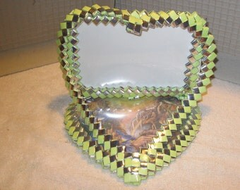 WOVEN PICTURE FRAME in Lime Green and Silver- handcrafted