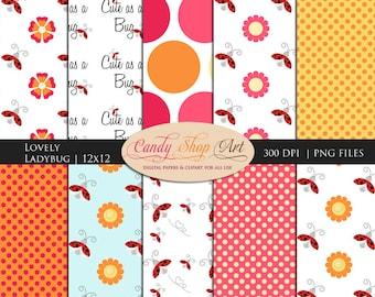 Instant Download - Ladybug backgrounds, ladybug papers, digital backgrounds, lovely ladybug printable digital papers