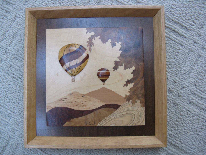 Wood Inlay Wall Decor : Hot air balloons wood inlay contemporary art wall hanging