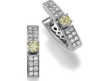 """Unique Design of 0.62 carat Natural Diamonds Earings """"prestige"""" White and Yellow gold 14k"""