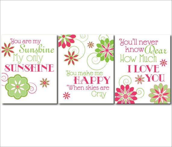 Pink And Green Wall Decor For Nursery : Pink lime green nursery art you are my sunshine wall