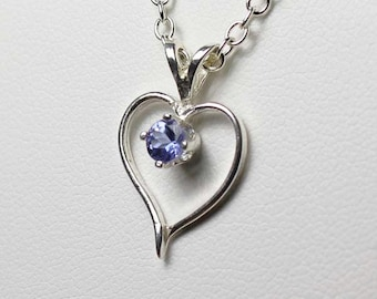 Natural Tanzanite Sterling Silver Heart Necklace / Pendant FREE CHAIN