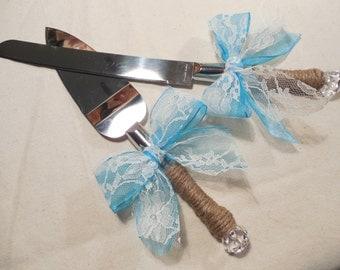 Cake Server Set - Wedding Cake Knife Set -Rustic Wedding - Wedding Cake Knife - Monogrammed cake server set - Rustic Wedding Decor