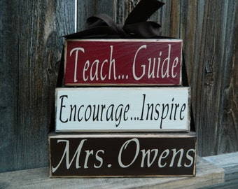 Guide Teach Encourage Inspire personalized teacher appreciation wood blocks, Teacher Gift, Teacher blocks