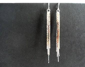 Chain tassel earrings in silver, Long tassel chain earrings, Silver chain tassel earrings