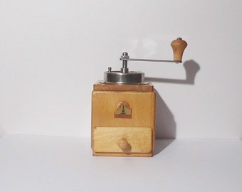 Vintage Wooden German Coffee Mocha Espresso Grinder / Armin Trösser