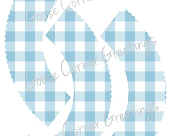 DIY Instant Download Blue Gingham Cupcake Wrappers