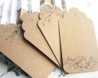 Flower Gift Tag Scallop Hangtags Price Product Label : 15 Floral + 5 Blank - Brown