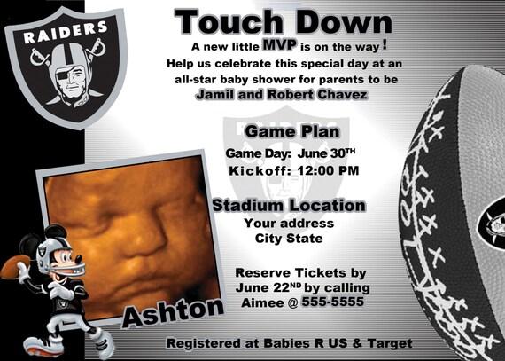 Oakland Raiders Football Mickey Mouse Invite