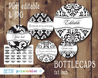Damask Editable Bottle caps images -  Classic Editable PDF and JPG bottlecaps - Instant Download - 132