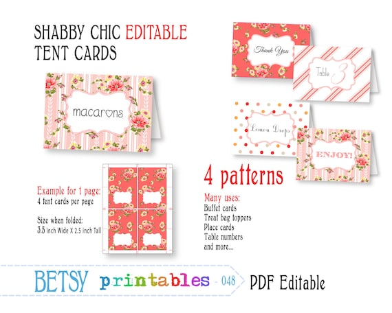 Editable buffet card, shabby chic digital labels or cards, PDF labels - INSTANT DOWNLOAD 048