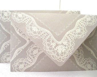 Ivory lace and taupe envelopes Handmade large A9 Qty 10 Brochure Invitation Envelopes 6x9 in Wedding