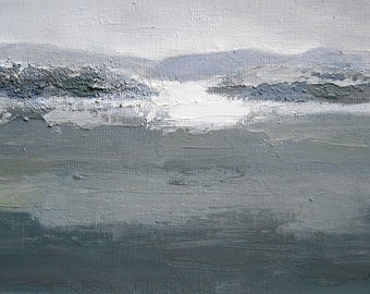 """Islands,original oil on canvas,abstract seascape,5 1/2"""" x 7 1/2"""""""