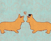 Corgis in Love w/ CUSTOMIZABLE Message Option