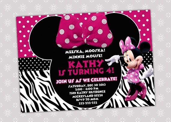 items similar to minnie mouse birthday invitation - minnie mouse birthday invite