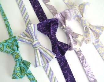 Bow Ties - Spring Lavender Green Collection (Boys Size & Mens Size) Traditional Bow Tie, Pre-tied Bow Tie - Perfect for Weddings and Photos