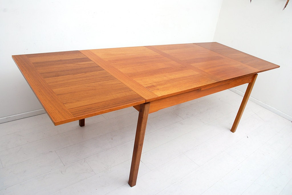 Mid century danish modern teak dining table extendable for Danish modern dining room table