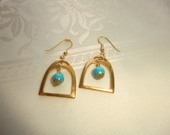Earrings, gold filled unique French element with a turqouise bead for luck