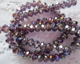 25  Dark Grape Plum Purple AB Faceted Rondelle Crystal Beads  4mm x 6mm