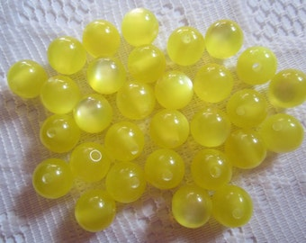25  Bright Lemon Yellow Fiber Optic Cats Eye Luster Round Acrylic Resin Beads  8mm