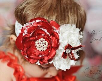 Valentines Day Headband - Red and Ivory - Newborn Headband - Baby Headband - Toddler Headband - Flower Headband - Christmas